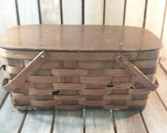 Wooden Picnic Basket, Vintage Picnic Basket, Wood Picnic Basket, Old Picnic Basket, Vintage Basket, Old Basket,