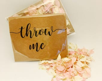 Flower petal confetti - pale pink with off white petals - biodegradable - calligraphy 'throw me' kraft packet - vintage weddings