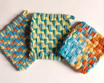 "Set of 3: Bright color, woven pot holders, hot pads - ""Tropical Sunset"""