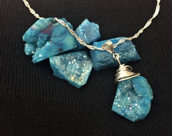 Turquoise Druzy Stone Necklace ; Silver Necklace ; Wire Wrapped Stone Necklace
