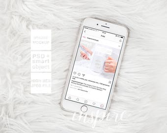 Iphone 7 plus Mockup / PSD Smart Object / Styled Stock Photography for Etsy Listings / Soft Fur Background / Femenine Stock / Web Design
