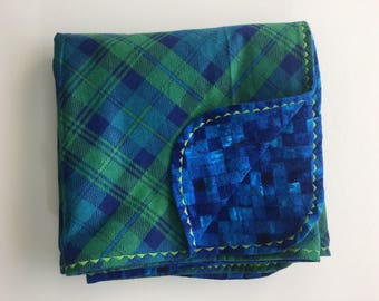 Blue Plaid Flannel Receiving Baby Blanket Ready To Ship!