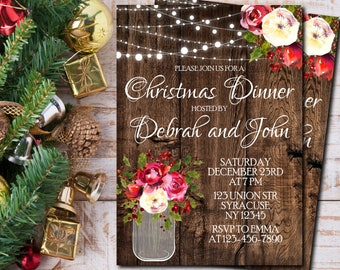 Christmas dinner invitation, Christmas party invitations, Christmas invitation printable, Holiday party invitation, Rustic winter - 1709