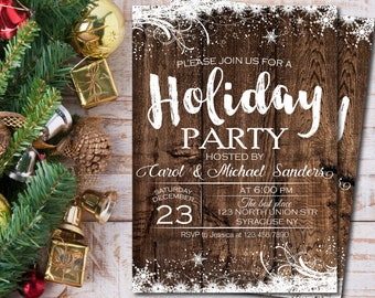 Holiday party invitation, Winter party invitations, Christmas party invitation, Rustic winter invitation, Wood Christmas invitations 1580