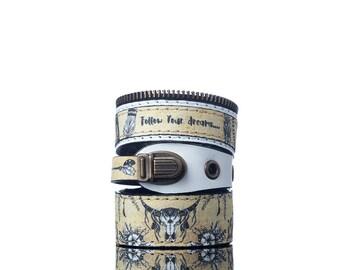 Colours of Life - Boho Bracelet | 3 In 1, Handmade, Faux Leather, Eco Leather, Leather Bracelet, Print, Skull, Quote, Beige, White, Boho
