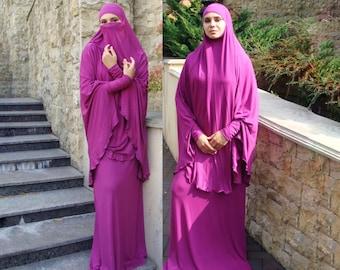 Transformer fuchsia Khimar, niqab transformer, french jelbab, niqab, traditional hijab,ready to wear hijab, long hijab, muslim dress