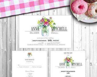 "Personalized Wedding Invitation Set - ""Flower Jar"" - Style #213"