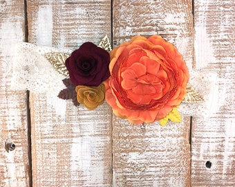 Vintage Headband, Orange, Mustard & Wine Headband, Floral Crown Headband, Toddler Girls Headband, Photography Prop,