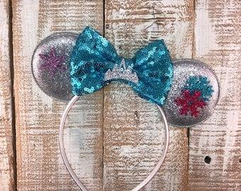 Elsa Inspired Minnie Ears , Minnie Ears, Elsa Inspired Headband, Girls Birthday Headband, Bachelorette Party,