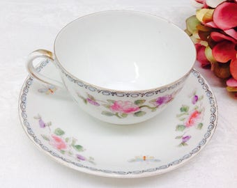 1910 hand painted Nippon teacup and saucer.