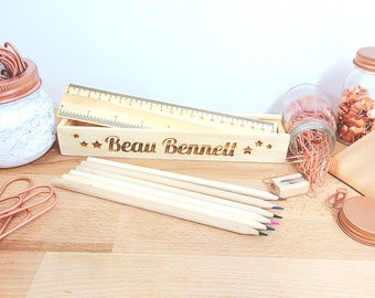 Wood Pencil Case, Personalised Case, Christmas Gift, First Day At School, Stocking Filler, Named Stationery, Gift For Kids, Xmas Present