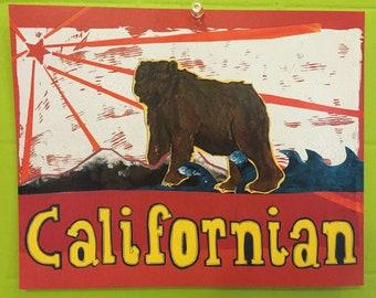 Californian Bear Art Print Lithograph