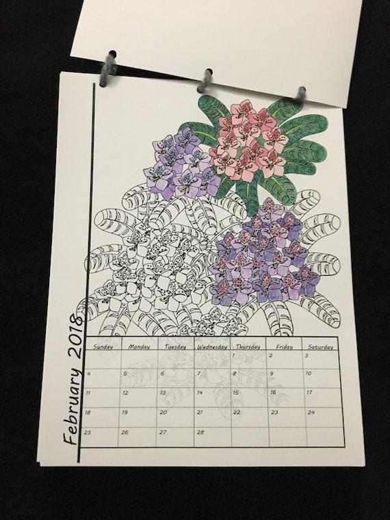 Printable coloring calendar 2018 calendar instant for Gardening 2018 calendar