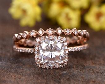 7.5mm Cushion cut Forever Classic Moissanite engagement ring set,Deco diamond wedding band,14k rose gold wedding ring set,2pcs promise rings