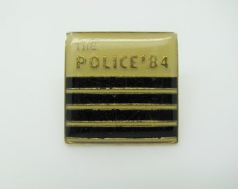 Vintage 1984 The Police Square Enamel - Pin / Button / Badge, Concert Souvenir, Biggest Fan, The Police Fan Club, Jean Jacket Pin