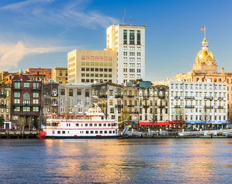 Savannah Georgia skyline canvas, Savannah Canvas,  Savannah wall canvas, 3 panel or single panel Savannah photo wall art print, Savannah