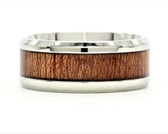 Polished stainless steel band ring dark mahogany wood band, Deep rich mahogany timber band ring, purple gift bag black ring giftbox included