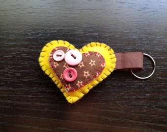 Yellow heart keychain