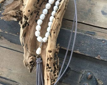 Large Freshwater Pearls on Gray Leather with Removable Leather Tassel