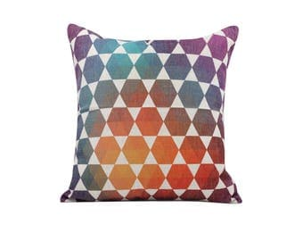 Geometric decorative pillow cover Watercolor throw pillow covers Hexagonal throw pillow cases Modern cushion cover Sofa home decor 18x18