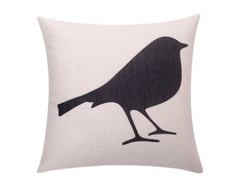 Printed bird throw pillow cover Cute bird silhouette decorative pillow case Bird cushion cover Linen cushion case Sofa home decor gift 18x18