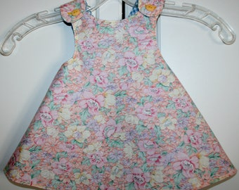 6 months, Multi Color Flower Reversible Sundress with Blue and White Checks.