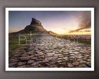 Lindisfarne Castle print, Landscape image, Fine art photography, sunrise sunset photo, holy island, golden hour print, cobble stones