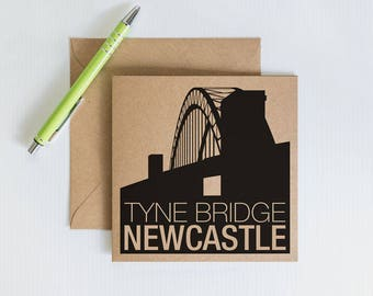 Handmade Retro Greeting Card, Newcastle Tyne bridge, Geordie Novelty card, Kraft Recycled Card, Card for family and friends