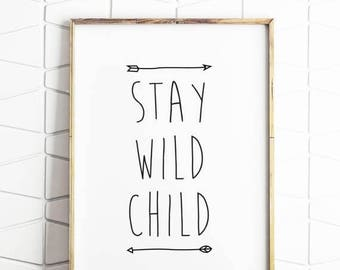 70% OFF SALE wild one birthday, wild one decor, stay wild child, digital download, printable decor, nursery decor, one birthday, birthday gi