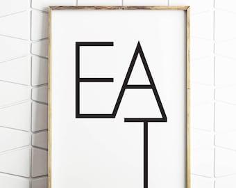 eat wall art print, eat printable, eat typography, kitchen word art, kitchen wall art, kitchen art print