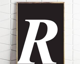 single monogram art, single letter art, printable letter art, letter r print, printable r, download r, instant prints, letter poster