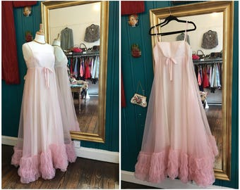 "Vintage 1960s Pastel Pink Froufrou Ballgown W 26"" XS Small"