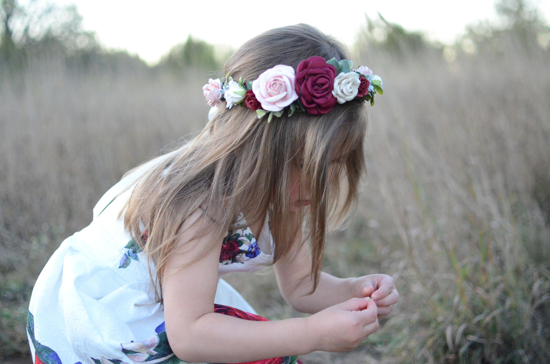 Burgundy Blush Flower Crownflower Crown Fall Headband Fall Flower