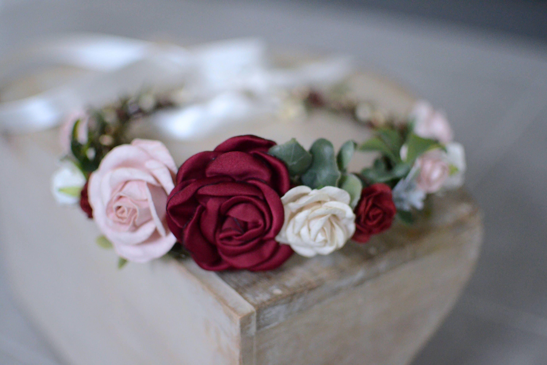 Burgundy blush flower crown flower crown fall headbandfloral burgundy blush flower crown flower crown fall headbandfloral crown christmas headband izmirmasajfo