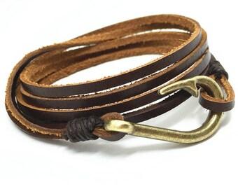 Men Leather Bracelet, Hook Men Bracelet, Leather Bracelet, Wrap Leather Bracelet, Bracelet for Men, Mens Bracelet, Man Leather Bracelet