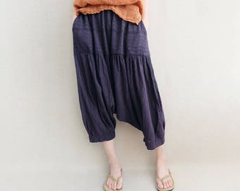 Women Hollow Cotton Pants Beach Pants Elastic Waist Cotton Harem Pants Wide Leg Seven Minutes Pants