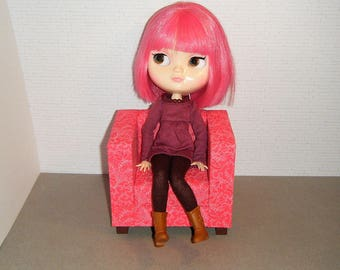 1:6 Scale Furniture Chair - Barbie Momoko Blythe Pullip Fashion Dolls - Living Room Diorama - Red