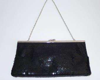 Beautiful   vintage ALDO black sequin   evening clutch purse w. chain