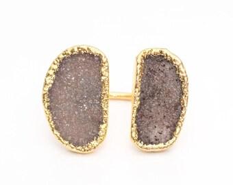 Vintage Natural Druzy Boho Ring, VJ #1031