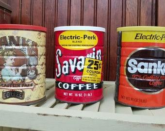 Set of 3 Vintage Coffee Tins
