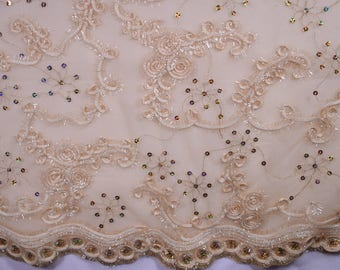 All That Glitters Sequin Scroll, Embroidered Mesh in Ivory