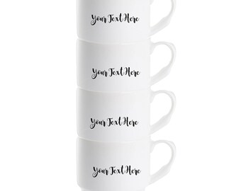 Create Your Own Set of 4 Personalised Mugs - Typography Quote - Photo - Logo or Artwork