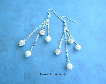 Custom Color Crystal Rhinestone & Pearl Earrings-Bride Earrings-Bridesmaid Earrings-Maid of Honor Earrings-Bridal Party gift-Weddings, E1849