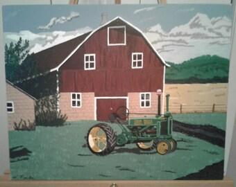 John Deere Tractor and Barn