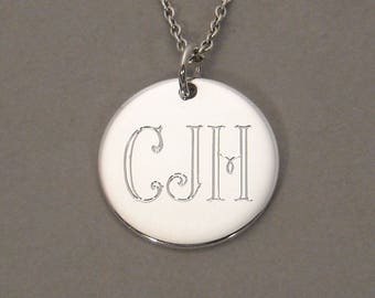 For Marilou- Priority Mail option- Sterling silver monogram necklace pendant engraved personalized initial necklace charm 5/8 inch UDLPAR