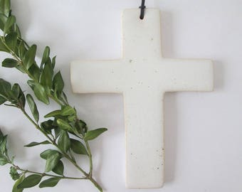 ceramic cross, white cross, ceramic devotional, handmade devotional, decorative cross, wall cross, cross pottery, white modern ceramics