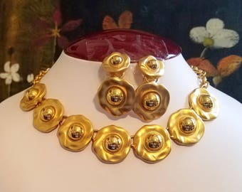 Vintage Anne Klein Gold Dome Necklace and Earrings - Statement Pieces-Brushed and Polished Gold Design