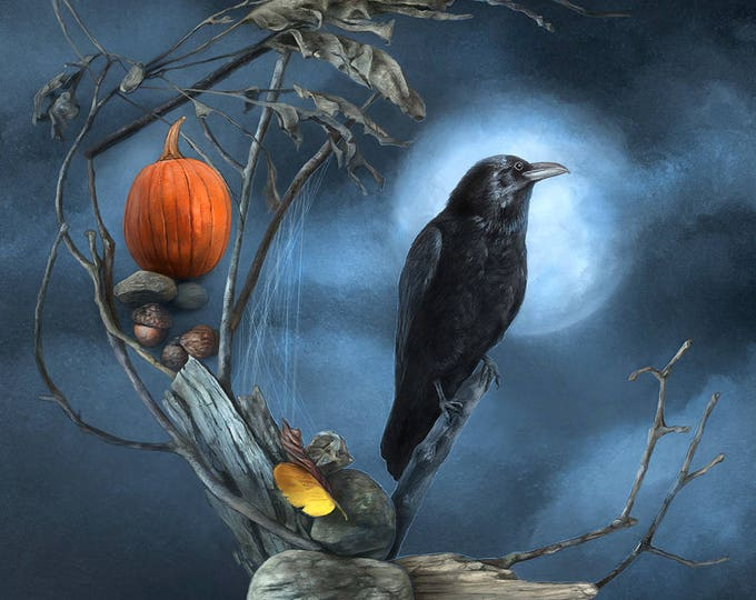Featured listing image: Raven Moon by Leanne Peters - Raven Art - Halloween Art - Fantasy Art