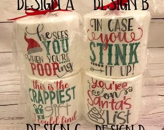 Christmas Toilet Paper/ Gag Gift/ White Elephant/ Secret Santa Gift Idea/ Secret Santa/ Person Hard To Shop For/ Holiday Gift/ Family Gift