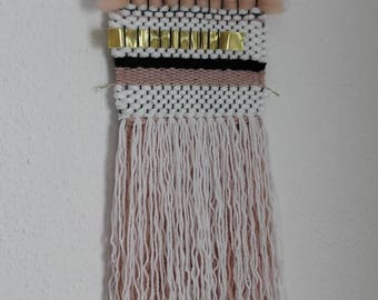 Black Gold White Pink - Woven Wall Hanging